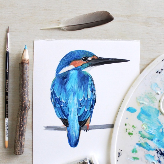 Kingfisher gouache painting by Deanna Maree