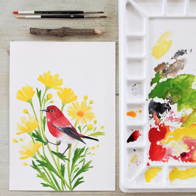 Gouache painting, bird illustration by Deanna Maree