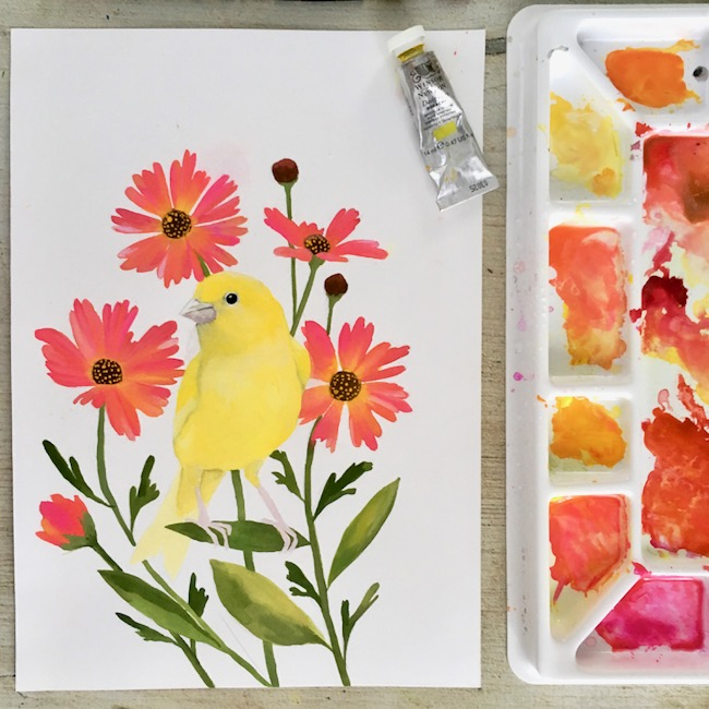 Canary gouache painting + gouache florals by Deanna Maree