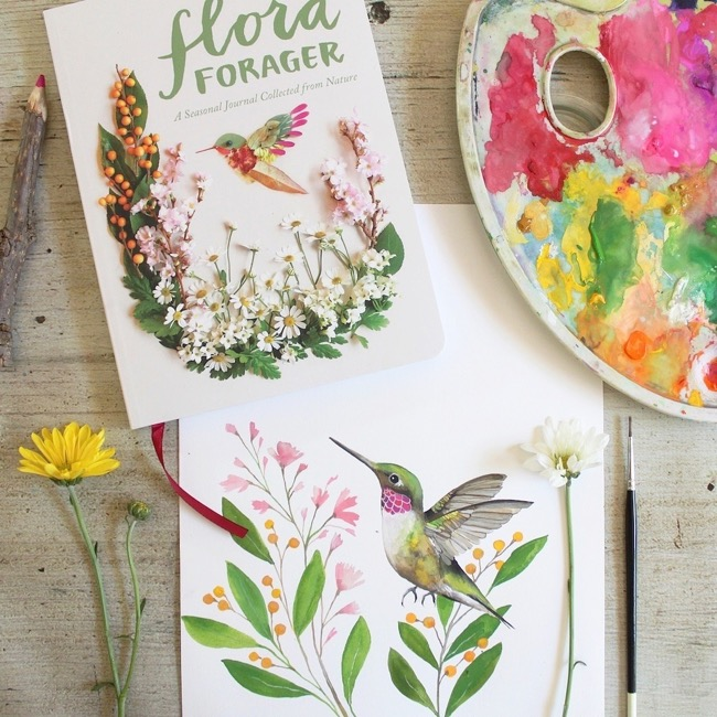 Hummingbird painting with gouache by Deanna Maree
