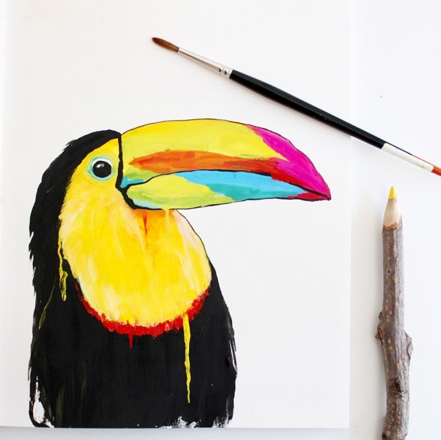 Toucan painting, gouache & watercolours by Deanna Maree