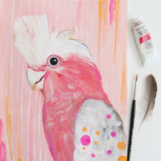 Galah painting, sketchbook art, gouache + watercolour paint by Deanna Maree