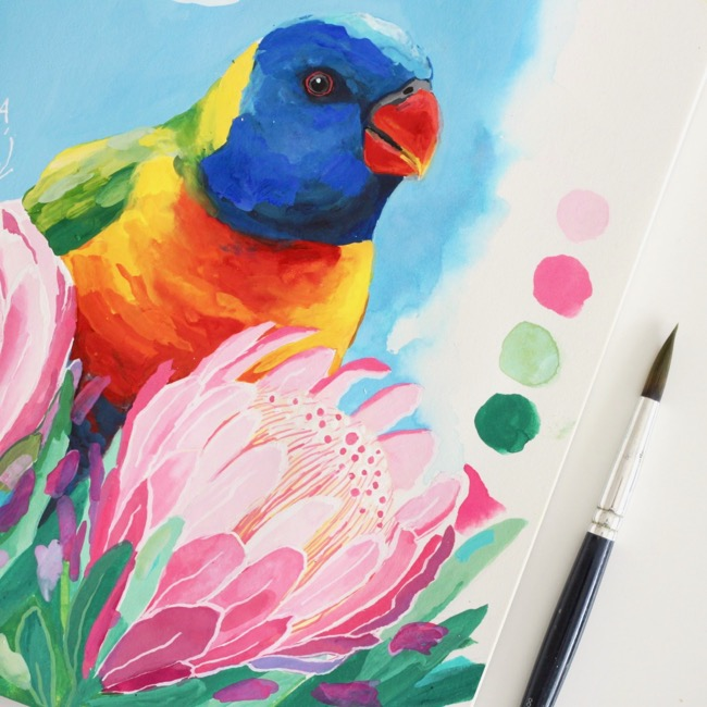 Lorikeet & proteach gouache paint sketchbook study by Deanna Maree