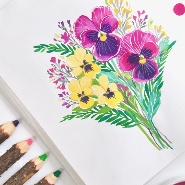 Gouache pansy floral bouquet by Deanna Maree