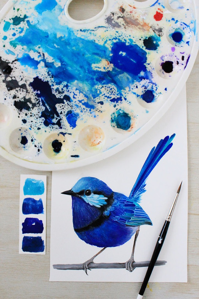 Blue wren bird painting by Deanna Maree