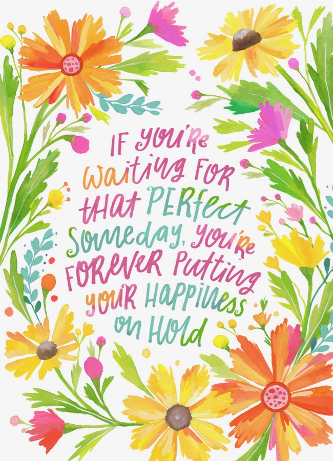 Don't put your happiness on hold illustrated quote, artwork by Deanna Maree Hand lettered quote, leaf wreath artwork by Deanna Maree for