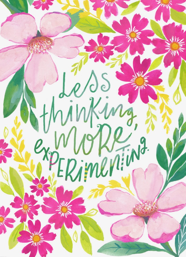 Inspiring creative quote, hand lettering, gouache floral painting by Deanna Maree for