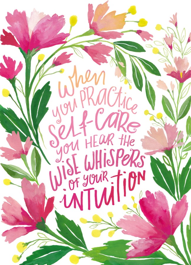 Self care hand painted quote art by Deanna Maree Hand lettered quote, leaf wreath artwork by Deanna Maree for