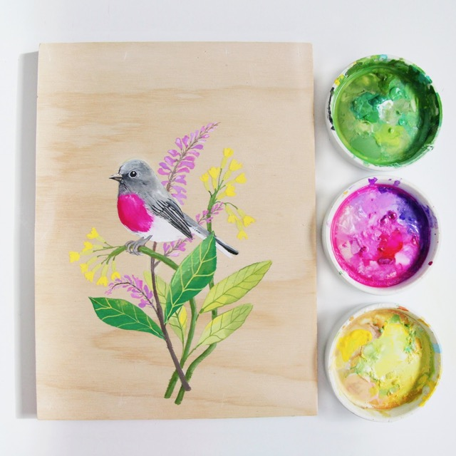 Bird + floral painting by Deanna Maree